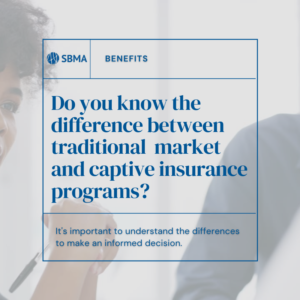 What is the difference between standard market insurance programs and captive insurance programs?